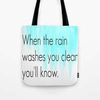 fleetwood mac Tote Bags featuring Ombre - Blue - Dreams by Fleetwood Mac by Paxton Keating