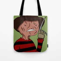 freddy krueger Tote Bags featuring Adventure Time with Freddy Krueger by MrDamnKids