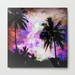 Nebula Palm Trees Metal Print