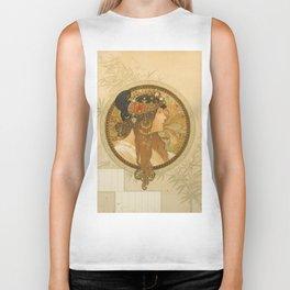 "Alphonse Mucha ""Byzantine Head: The Brunette"" Biker Tank"