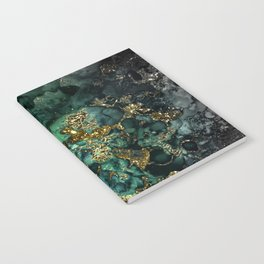 Gold Indigo Malachite Marble Notebook