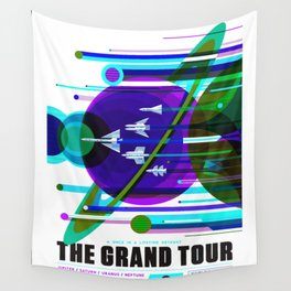 NASA Space Saturn Shuttle Retro Poster Futuristic Explorer Blue Wall Tapestry