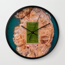 Soccer Field on a Remote Island - Aerial Photography Wall Clock