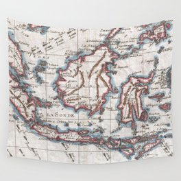 Vintage Map of Indonesia (1780) Wall Tapestry