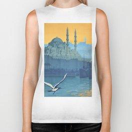 Mid Century Modern Travel Vintage Poster Istanbul Turkey Grand Mosque Biker Tank