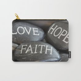 Love Faith Hope Christian Quote Black Pebble Embossing Carry-All Pouch
