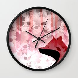 Fox In Falling Leaves Unique Design Wall Clock
