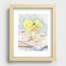 I Love Yellow Roses at Tea Time Recessed Framed Print