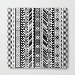 Black and White Adinkra Symbol African Print Pattern Metal Print