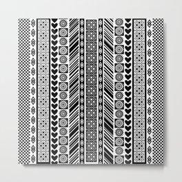 Black and White Adinkra Symbol African Print Pattern Metal Print