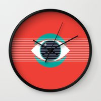 evil eye Wall Clocks featuring Evil Eye by smoraes