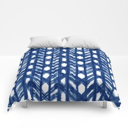 Indigo Geometric Shibori Pattern - Blue Chevrons on White Comforters