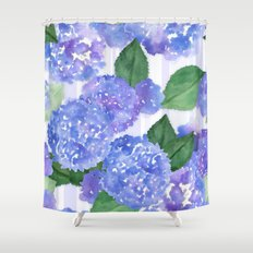 Hydrangeas and Stripes Shower Curtain