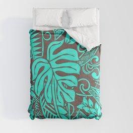 Teal Polynesian Tropical Leaf Design Comforters