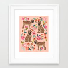 Sharpei dog breed florals dog pattern for dog lover by pet friendly sharpeis Framed Art Print