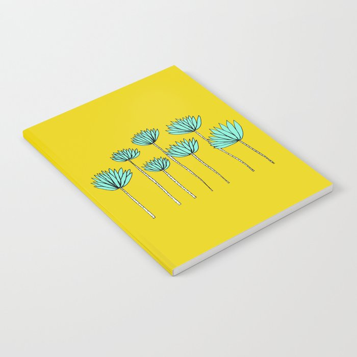 Yellow and Aqua Tropical Plants Notebook