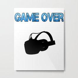 VR Game Over Blue Metal Print