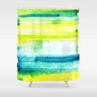 swimming Shower Curtains featuring Swimming Upstream by Picomodi