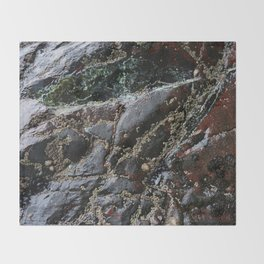 Ocean Weathered Natural Rock Texture with Barnacles Throw Blanket