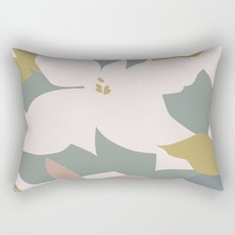 Leafy Floral Collage on Pale Pink Rectangular Pillow