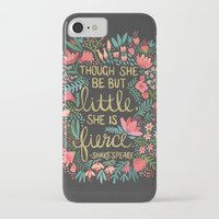 hand iPhone & iPod Cases featuring Little & Fierce on Charcoal by Cat Coquillette
