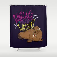 walrus Shower Curtains featuring Wallace Walrus  by Chelsea Herrick
