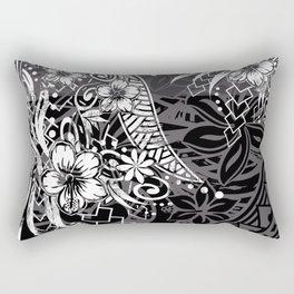 Slate Polynesian Tribal Threads Grunge Rectangular Pillow