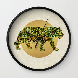 Tiger in the Golden Sun Boho Textures Hand-drawn  Wall Clock