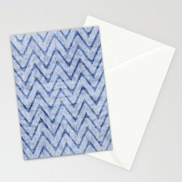 Sky and Ocean Blue Zigzag Imitation Terry Towel Stationery Cards