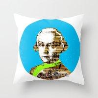 mozart Throw Pillows featuring Mozart Kugel Blue by Marko Köppe