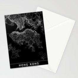Hong Kong Black Map Stationery Cards