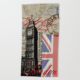 London Great Britain Big Ben Flag Collage #Society6Art Beach Towel