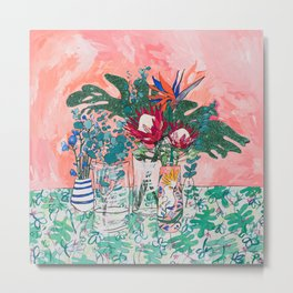 Cockatoo Vase - Bouquet of Flowers on Coral and Jungle Metal Print