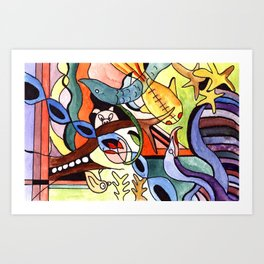 Childhood Series: Playtime with Animals Watercolor Painting Art Print
