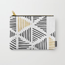 Simple Geometric Zig Zag Pattern - Black Gold White - Mix & Match with Simplicity of life Carry-All Pouch
