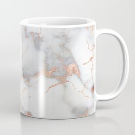 Gray Marble Rosegold  Glitter Pink Metallic Foil Style Coffee Mug