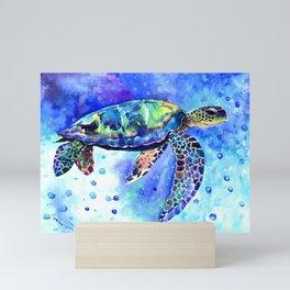 Sea Turtle, Underwater Scene Mini Art Print