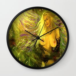 ART  NUDE fairy WOOD NYMPH NUDE fairy,magical in the forest ,gold green ladykashmir, mix,media, Wall Clock