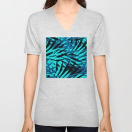 Aqua and Blue Leaves Exotic Pattern Unisex V-Neck