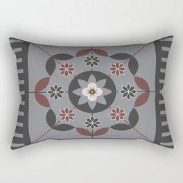 Floral Motif (Sable Brown, Sharkskin Grey, Cream, DarkCharcoal) Rectangular Pillow