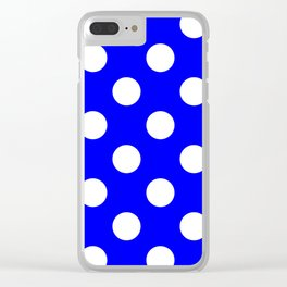 Large Polka Dots - White on Blue Clear iPhone Case