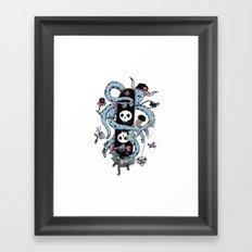 Octopus Skate Color Framed Art Print