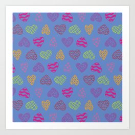 Cute Hearts Pattern Artistic Colorful Blue Background Art Print