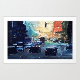 City traffic on a summer evening Art Print