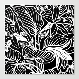 Black White Floral Canvas Print
