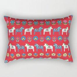 Dala Folk Red Rectangular Pillow