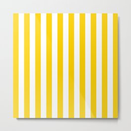 Stripe Texture (Yellow & White) Metal Print