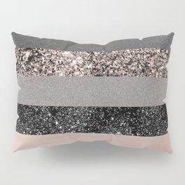 Blush Glitter Glam Stripes #3 #shiny #decor #art #society6 Pillow Sham