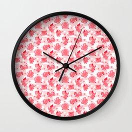 Pink Elephants Wall Clock