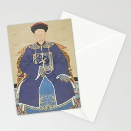 An Ancestor Portrait of an Official - Chinese, 19th century - Scroll painting - Mandarin Court Stationery Cards